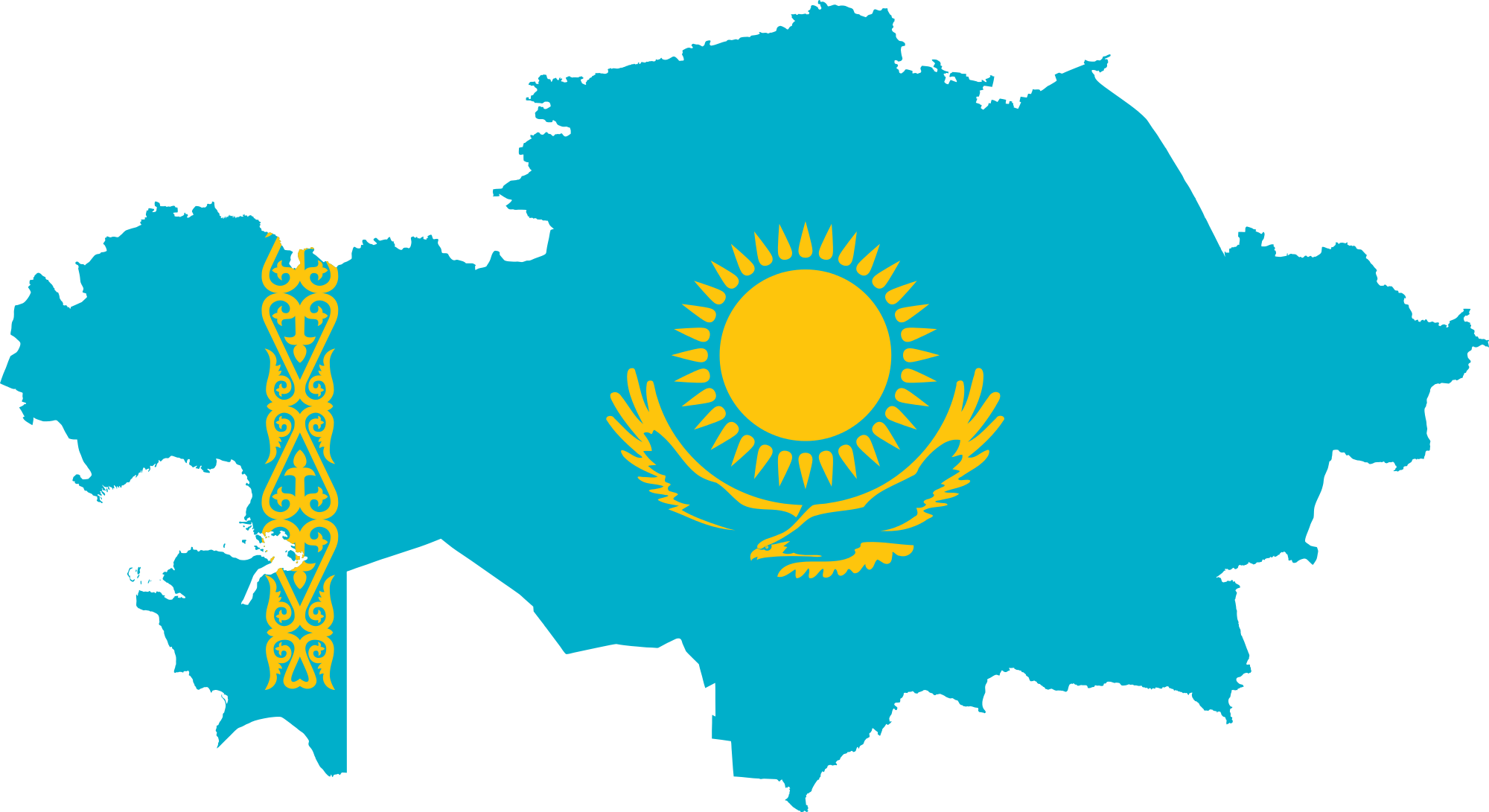 Flag map of Kazakhstan precise boundaries